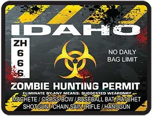 Interior Wall Design Idaho Zombie Hunting Permit Decal Danger Zone Style