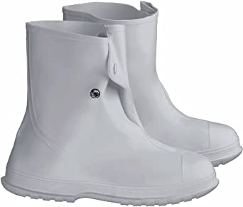 "ONGUARD 81020 PVC Men's Overshoe with 4 Way Cleated Outsole, 10"" Height, White, Size Small"