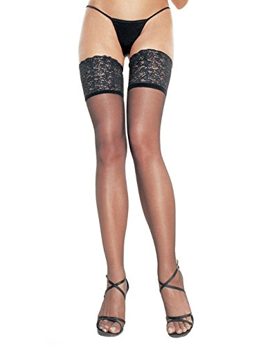 Leg Avenue Women's Lycra Sheer Thigh High Stockings with 5 Inch Silicone Stay Up Lace Top, Black - Lycra Lace Stocking