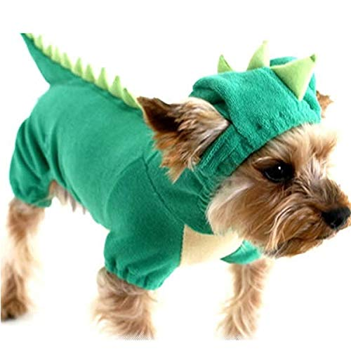 (Fanatical-Night Funny Dog Clothes Pet Dragon Puppy Coat Dinosaur Clothing Up Teddy Hoodies Jersey)