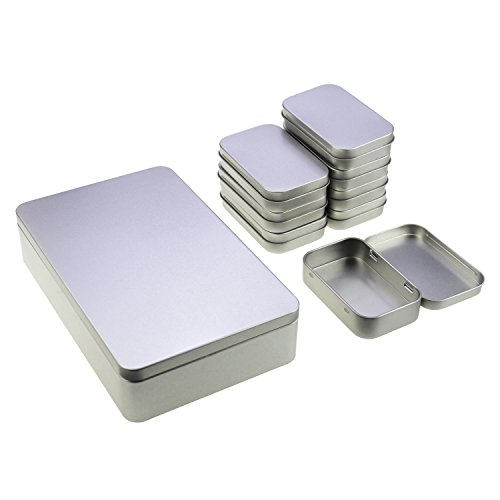 LJY Rectangular Metal Empty Tins Containers Basic Necessities Home Storage Organizer Set, Mixed Sizes, Including 1pc Large + 8pcs Small Boxes