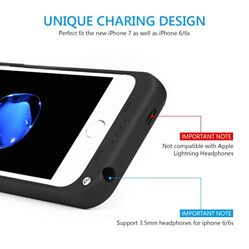 SAVFY iPhone 7 Battery instance iPhone 6 6s Charger instance 3200mAh iPhone moveable Charger slimmer Rechargeable Extended Battery Charging Pack power Bank instance using Kickstand for iPhone 7 6S 47 inch Black Batteries