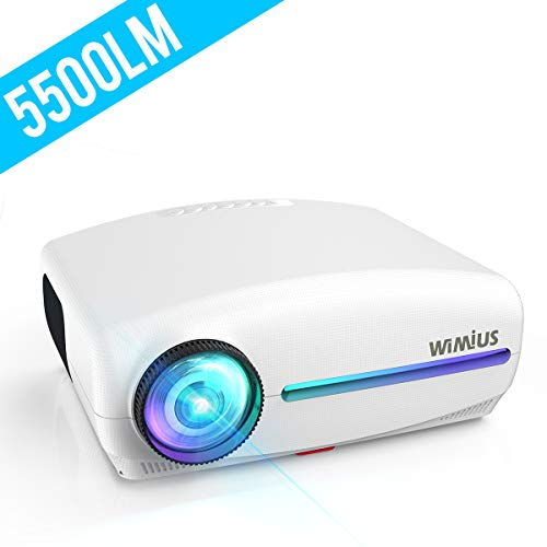 Projector, WiMius Upgrade HD Video Projector 5500Lux Native 1920 x 1080P, Outdoor Home Theater Movie Projector, 4K Zoom ±50° Remote Keystone, Compatible with Fire TV Stick, PS4, PC, iPhone, Android