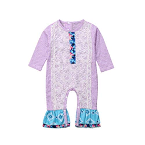 Newborn Baby Girl Clothing Floral Romper Long Sleeve Cottobn Cute Jumpsuit Outfits Long Clothes Baby Girls(Purple,6M)
