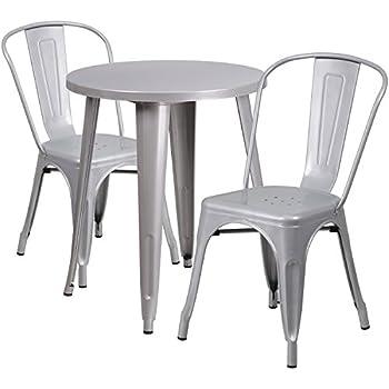 Amazon.com - Flash Furniture 24\'\' Round Orange Metal Indoor ...