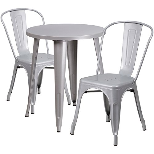 Flash Furniture 24'' Round Silver Metal Indoor-Outdoor Table Set with 2 Cafe Chairs (Chairs Bistro Silver Table And)