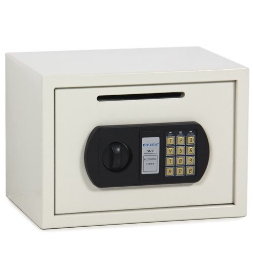 0.8CF Digital Depository Drop Cash Safe Security Jewelry Gun Home Hotel Box White