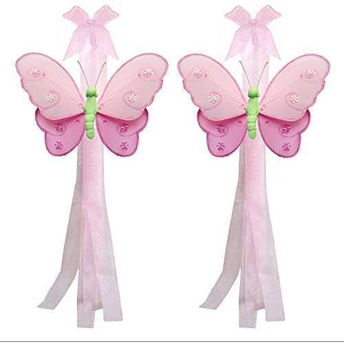 Back Curtain Tie Butterfly - Butterfly Curtain Tiebacks Dark Pink Green Pink Hailey Nylon Butterflies Pair Set Decorations Window Treatment Holdback Sheer Drapes Holder Drapery Tie Back Baby Nursery Bedroom Girl Room Decor Home
