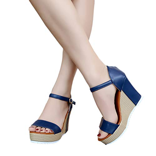 Cenglings Women Casual Peep Toe Wedge Sandals Buckle Strap High Heel Platform Ankle Strap Shoes Waterproof Sandals Blue (Patent Leather Sandals Guess)