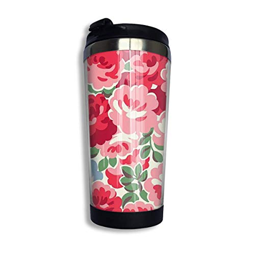 KJHDSI Red Rose Flower Woman Stainless Steel Food Grade ABS Stainless Steel Flask Wwater Bottle Travel Mugs Stainless Steel Coffee Cup Unisex