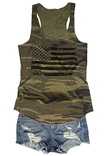 FLOYU Women's Camouflage Patriotic American Flag Graphic Print Casual Sleeveless 4th of July Tank Tops Size L (Green)