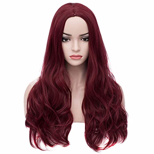 BERON 24'' Long Wavy Wig Center Parted Full Synthetic Wigs Wig Cap Included (Dark Red) ()