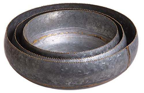 Red Co. Round Decorative Galvanized Metal Nesting Bowls, Home & Garden Planter Terrain Centerpiece Décor, Set of 3 Sizes ()