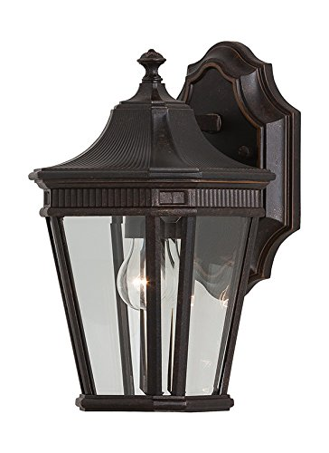 "Feiss OL5400GBZ Cotswold Lane Outdoor Patio Lighting Wall Lantern, Bronze, 1-Light (7""W x 12""H) 100watts"