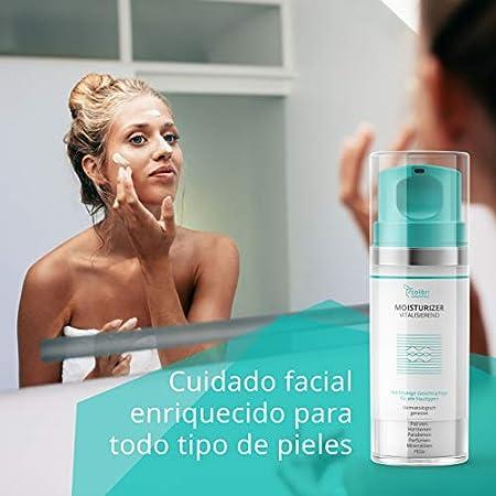 Crema facial de día para mujer con sérum de ácido hialurónico y aceite de argán - crema de cara hidratante para el contorno de ojos antiarrugas - cosmética natural, fabricada en Alemania
