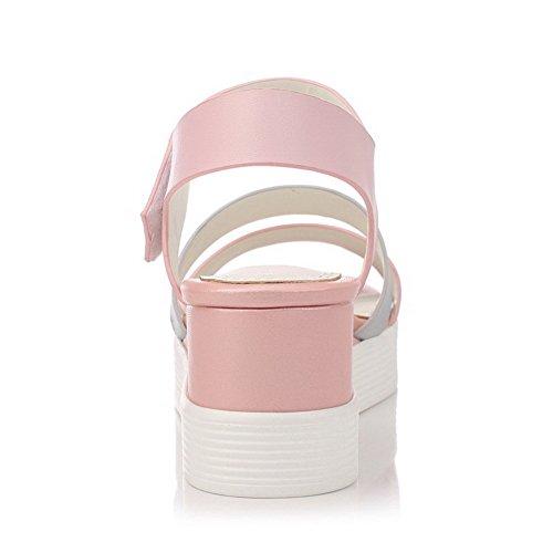 Mujeres Abierta Surtidos Rosa Plataforma Suave Velcro Sandalia Material Colores AgooLar Puntera dUqEwdA