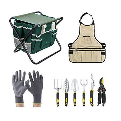 Garden Tool Set 10 Piece,Garden Tools Includes Garden Tote Folding Stool and 6 Hand Tools Cast-Aluminum Heads