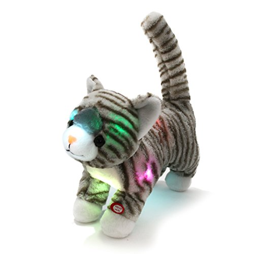 WEWILL LED Prance Cat Stuffed Animals Creative Glow Plush Tabby Kitty Toy, Grey, 14 inch