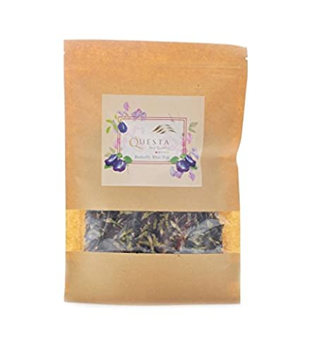 The Ultimate Herbal Tea Pea Flowers By Questa - Only Organic Dried Butterfly Flower - Excellent Quality Tea For The Brain & Body - Full Of Antioxidants To Enhance Memory & Ameliorate Skin - 3 Light Jt System