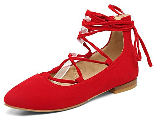 IDIFU Womens Dressy Pointed Toe Faux Suede Self Tie Flat Shoes Red OvsOY9K