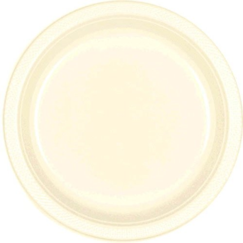 Amscan Reusable Round Party Plates Tableware, 20 Pieces, Made from Plastic, Vanilla Creme, 10 1/4'' by