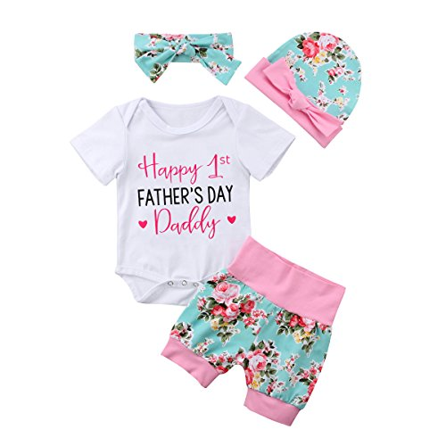 Happy 1st Mother's Day-4pcs Baby Girls Boys Clothes Set Letter Romper Bodysuit+Pants+Hat+Headband Outfits (Father's Day, 0-6 Months)