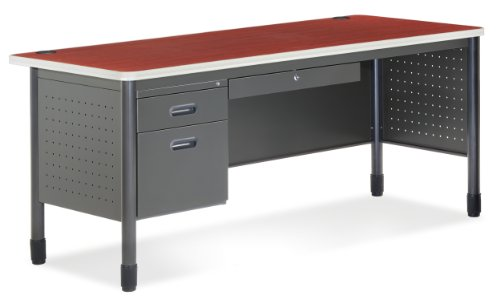 OFM Mesa Series Single Pedestal Desk with Center Drawer - Durable Locking Utility Desk, Cherry and Gray, 30