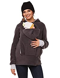 Happy Mama. Womens Maternity Fleece Hoodie Duo Top Carrier Baby Holder. 032p