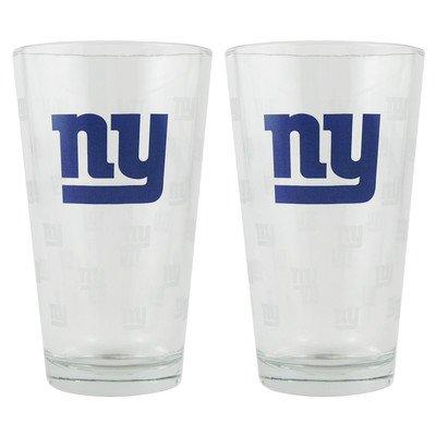 NFL Pint Glass Cup (Set of 2) NFL Team: New York Giants - Nfl Pint Glasses