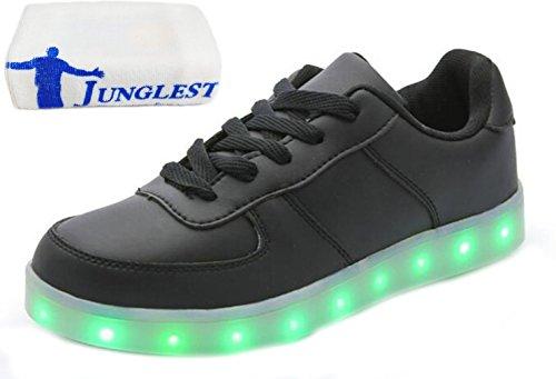 (Present:kleines Handtuch)JUNGLEST 7 Farbe Sneaker USB Aufladen LED Leuchtend Fasching Partyschuhe Sportschuhe Turnschuhe Laufschuhe für Unis Schwarz