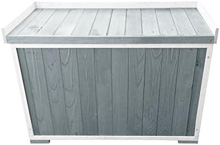Caja de almacenaje de madera para jardín/asiento/banco para jardín y terraza - Color: Gris y blanco: Amazon.es: Bricolaje y herramientas