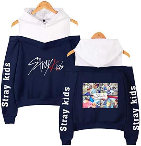 Casual /Épaules D/énud/ées Blouse Pull Capuche Manches Longues Pull /à Capuche /à Epaules D/énud/ées WanYangg Femme Stray Kids Fans Sweats /à Capuche Epaule Ouverte Pullover Sweatershirt