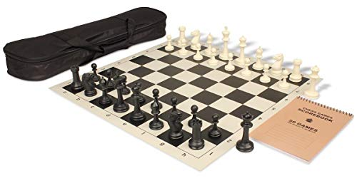 Master Series Carry-All Plastic Chess Set Black & Ivory Pieces with Black Roll-up Chess Board & Bag