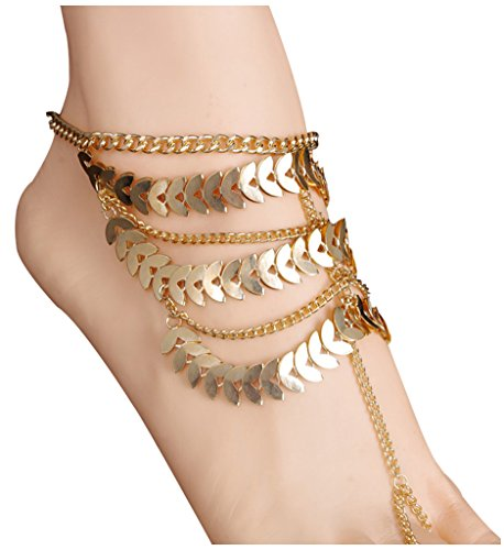 [Women's Lady's 2 Piece Golden Multi layer Foot Chain Anklet Barefoot Sandals Beach Foot Jewelry,] (Labor Day Parade Costumes For Sale)
