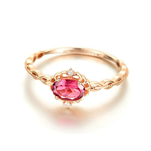 Daesar Womens Rings 18K Rose Gold Ring Oval Cut 0.5ct Red Tourmaline Cross Lace Promise Rings Size 8 by Daesar