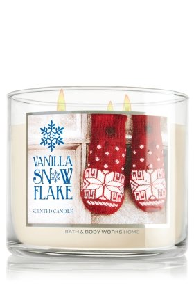 Bath & Body Works 2014 VANILLA SNOWFLAKE 3 Wick Scented Candle 14.5 oz./411 g
