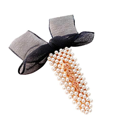 MiniPoco Women's  Hairpin - Women Pearl Yarn Bow Hair Clip Slide Hair Pin Barrette Bridal Hair Accessory