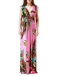 Wantdo Women's Printed Paris Bohemian Summer Maxi Dress Plus size