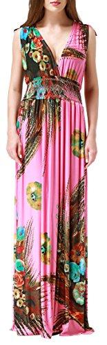 (Wantdo Women's Printed Paris Bohemian Summer Maxi Dress Plus size,Large/Tag L,Rose Pink)
