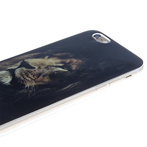 Funda Silicona Apple iPhone 6 Plus, KATUMO® Carcasa Dura Transparente Gel para 5.5 iPhone 6 Plus/ 6s Plus Funda Goma Caja Cubierta Clear Cover-Diente de León Blanco León