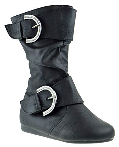 Link Klein 80KS Little Girls Rhinestone Buckle Side Zipper Slouch Mid Calf Boots Black PU 1 ()