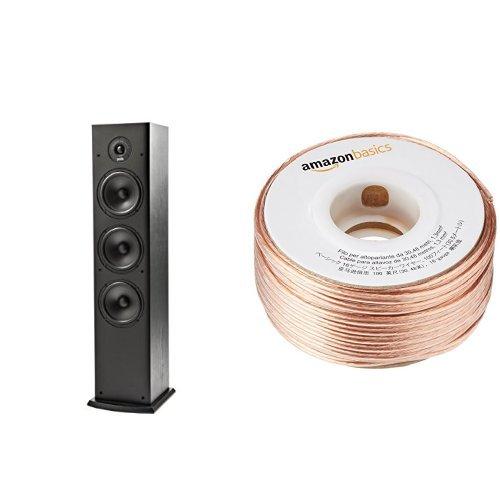 Polk Audio T50 Home Theater and Music Floor Standing Tower Speaker (Single, Black) and AmazonBasics 16-Gauge Speaker Wire - 100 Feet Bundle by Polk Audio