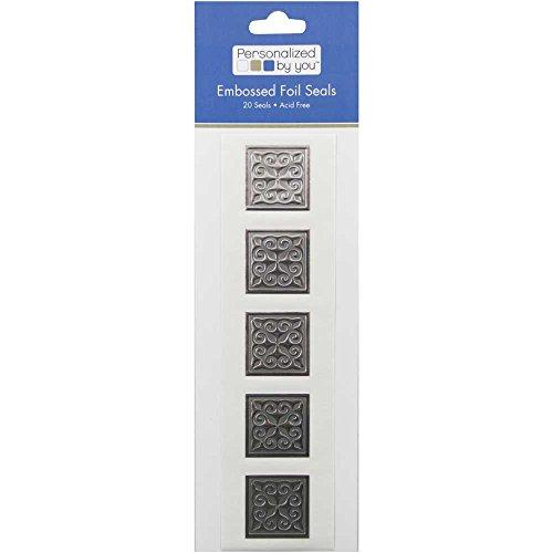 (JAM Paper Embossed Square Foil Envelope Seals - Silver - 20/Pack)
