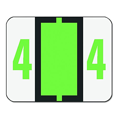 Smead 67374 Single Digit End Tab Labels, Number 4, Light Green, 500 per Roll