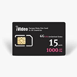 Europe SIM Card Prepaid Unlimited Data 38 Countries 15 Days 1000MB in 4G Speed