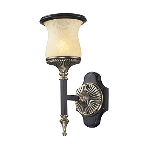 ELK 2420/1-LED, Georgian Court Glass Wall Sconce Lighting, 1 Light LED, Antique Bronze