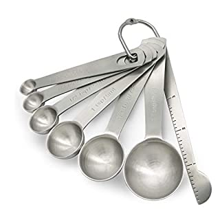 Talenlife Heavy Duty 18/8 Stainless Steel Metal Measuring Spoons Set for Dry or Liquid Ingredients, 7 Pieces with Leveler for Kitchen Cooking and Baking