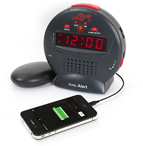 (Sonic Bomb Jr. by Sonic Alert Loud Alarm Clock with Bed Shaker Vibrator. For Heavy Sleepers, Teenagers, People with Hearing Loss, Seniors, and the Deaf - Sonic Bomb Jr. - SBJ525SS)
