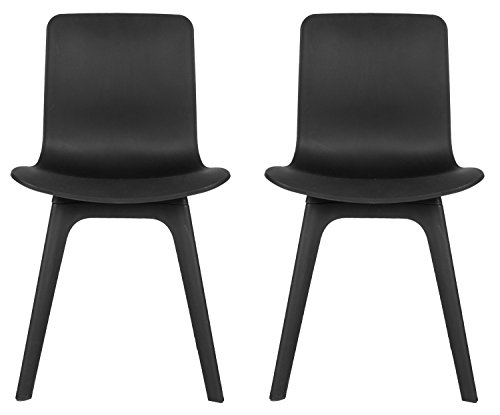 Merax modern black molded plastic dining side chair set of for Black plastic dining chairs