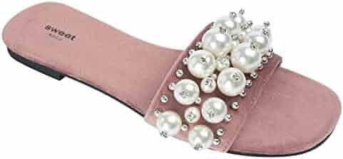de7ac64f2df AnnaKastle Womens Faux-Pearl Embellished Slide Sandals Flat Mule